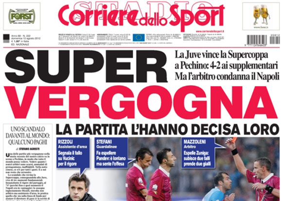 Titolo in prima del Corriere dello Sport: «Super Vergogna»
