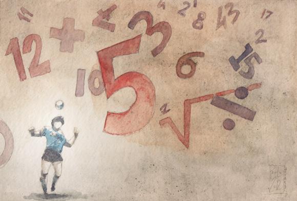 Numeri - tavola originale di Paolo Castaldi per Fútbologia