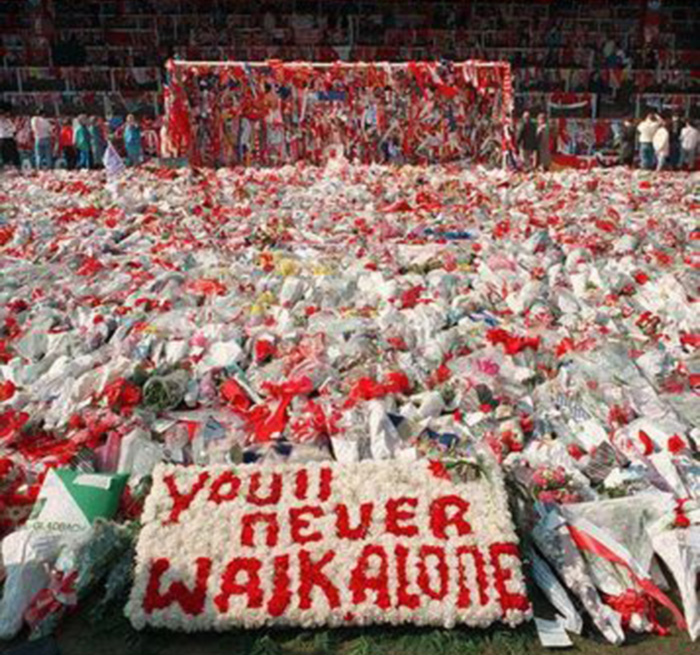 Hillsborough, flowers on the pitch