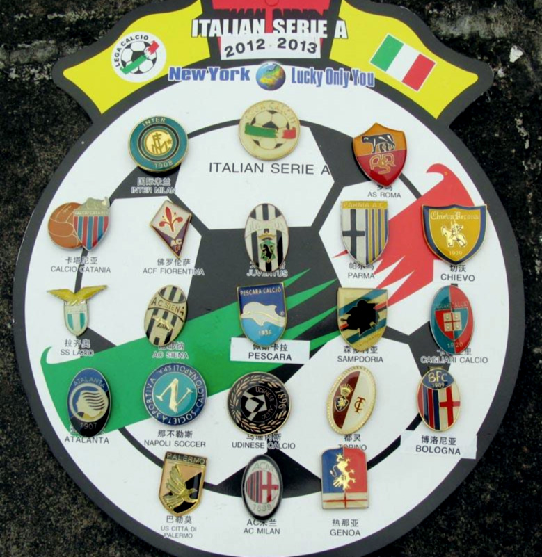 Serie A metal pins chinese