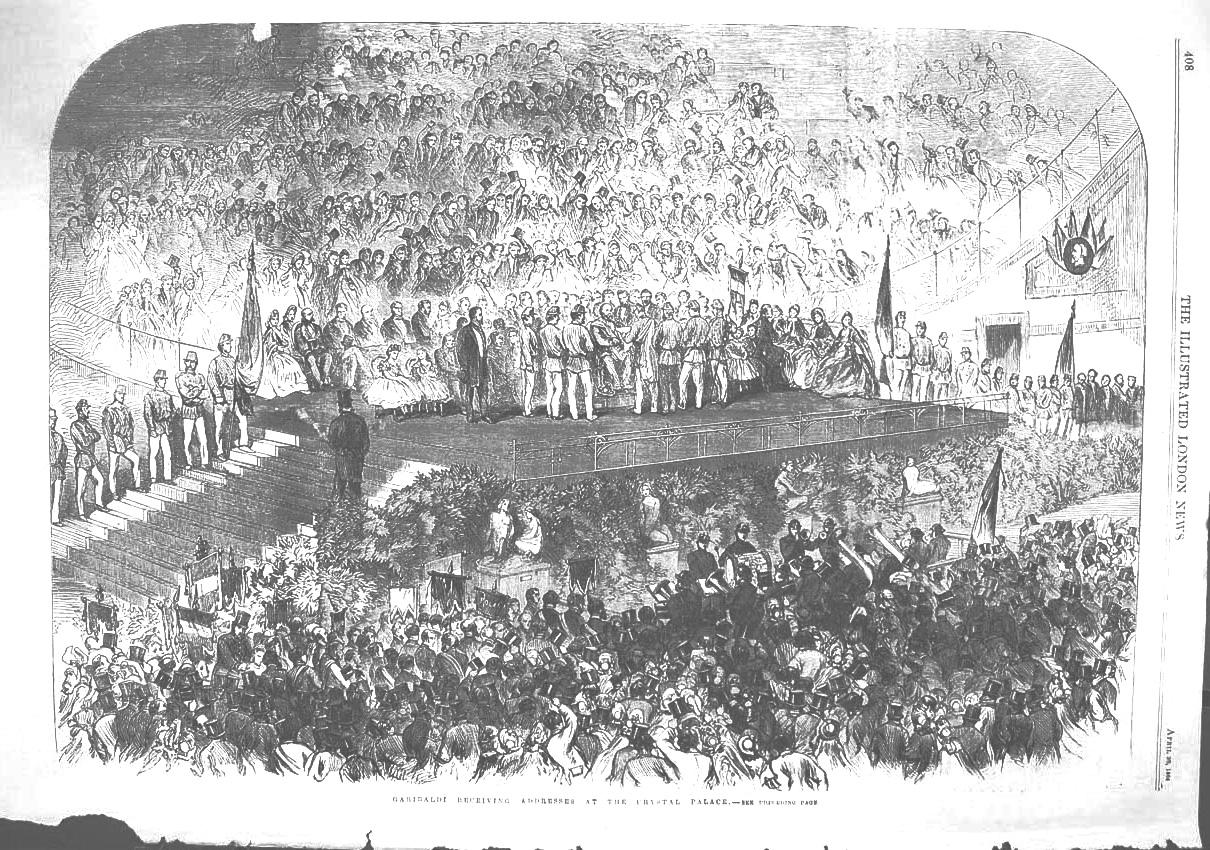 Illustrazione del discorso di Giuseppe Garibaldi al Crystal Palace di Hyde Park, Londra