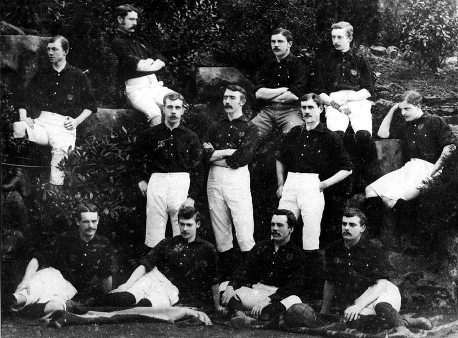 Nottingham Forest first team in 1884.  Back Row - T. Danks, C.J. Caborn, S.W. Widdowson, T. Lindley.  Middle Row - H. Billyeald, T. Hancock, F. Fox, A. Ward.  Front Row - S. Norman, J.E. Leighton, F.W. Beardsley, G. Unwin.  Photo courtesy of Nottinghamshire County Library Service