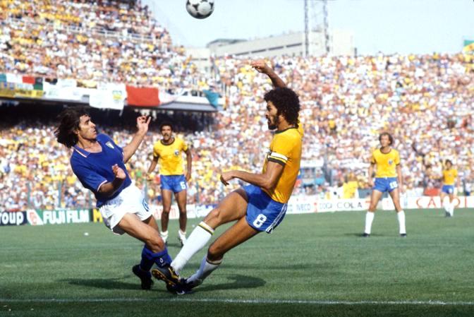 Brono Conti e Socrates in Italia-Brasile, 1982